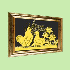 Påskeklip med silkehøns Happy Easter