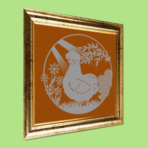 Silkehøne i have - papirklip i ramme